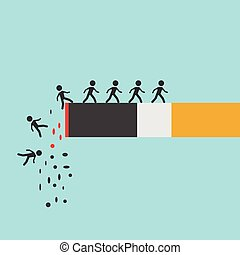 Cigarette burning with people - Cigarette burning with...