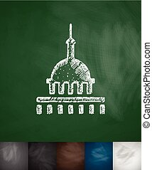 United States Capitol icon. Hand drawn vector illustration....