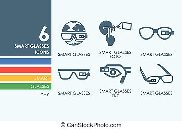 Set of high-tech glasses icons - high-tech glasses vector...