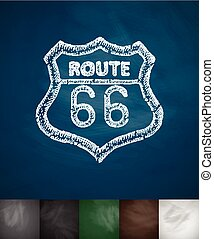route 66 icon. Hand drawn vector illustration. Chalkboard...