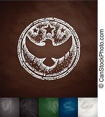 emblem US troops icon. Hand drawn vector illustration....