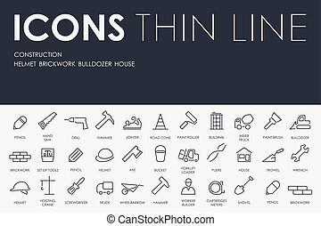 construction Thin Line Icons - Thin Stroke Line Icons of...