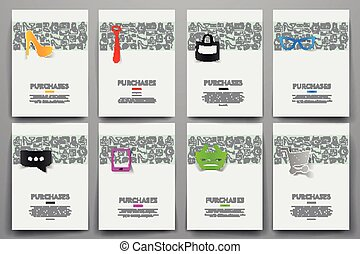 Corporate identity vector templates set with doodles sale...