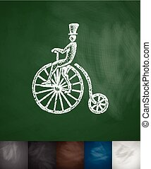 penny farthing icon. Hand drawn vector illustration....