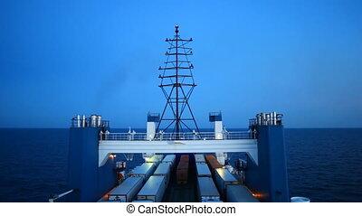 big cargo ferry - sea ferry transports trucks