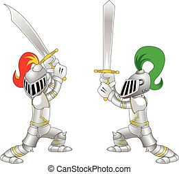 Knight.eps - Fighting knights with swords shield helmet army...