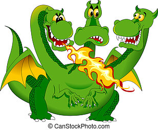 fire-breathing dragon - Green Dragon produces a jet of...