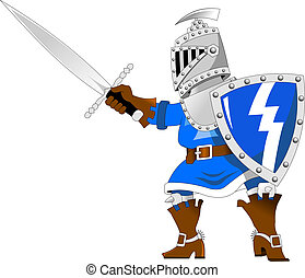 Knight in blue - Fighting knights with swords shield helmet...