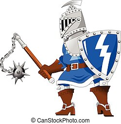 Knight with steel mace - Fighting knights with swords shield...