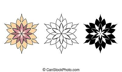 Three floral flowers