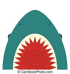 Shark with open mouth and sharp teeth
