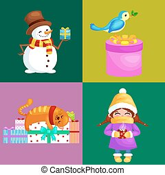Vector illustrations set Merry Christmas Happy new year,...