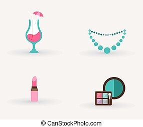 girls accessories makeup and jewelry. vector illustration
