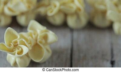 Homemade Italian Pasta - Saccottini pasta shot with...