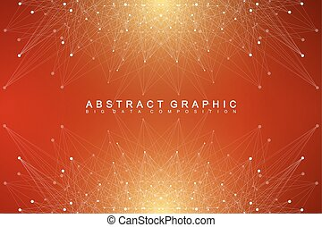 Geometric abstract background with connected line and dots....