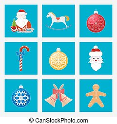 Set of Colorful Christmas Square Icons