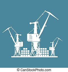 Cargo Cranes Isolated on Blue - Cargo Cranes and Containers...