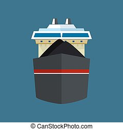 Front View of Dry Cargo Ship - Front View of the Vessel, Dry...