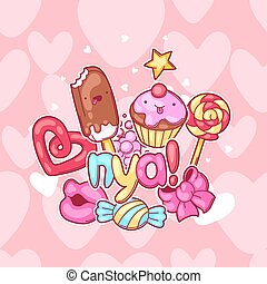 Kawaii background with sweets and candies. Crazy sweet-stuff...