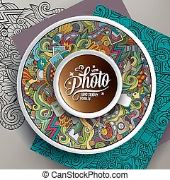 Cup of coffee Photo doodles on a saucer, paper and background