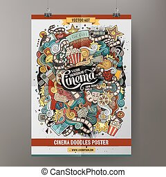 Cartoon doodles cinema poster template - Cartoon colorful...