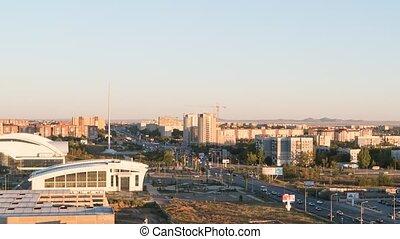 Sunset over the city of Karaganda. Kazakhstan. TimeLapse
