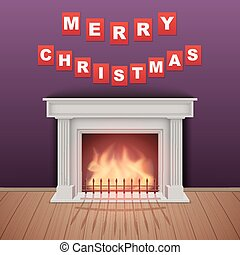 Christmas and Fireplace in cozy room. Realistic style...