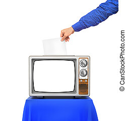 Elections concept. TV as an urn for the election ballots....