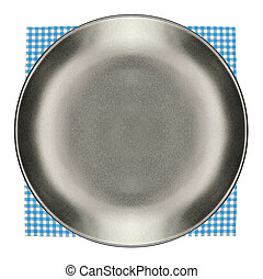 Top view plate on checkered tablecloth pattern background
