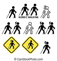 Nordic Walking, people walking outdoors with sticks icons...