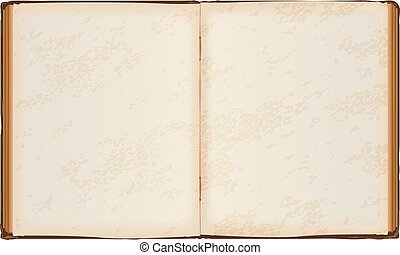 Open book with old blank pages. Isolated on white vector...
