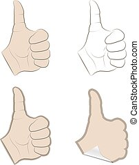 Set of thumbs up