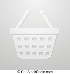 Paper icon of shopping cart. Vector Illustration Eps 10