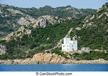 The coast at Capo Comino on the island of Sardinia, Italy