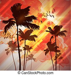 Palm trees at sunset. - Palm trees at tropical sunset.
