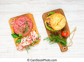 Fast Food Burger with Raw Minced Meat