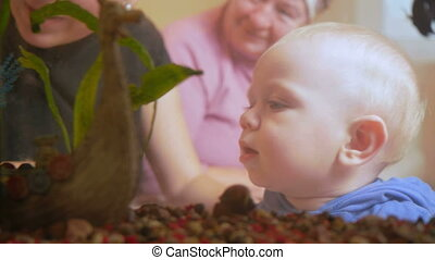 Beautiful baby looks at fish in an aquarium at home. My mother and grandmother sitting on a sofa and talking with his son