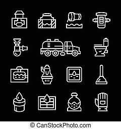 Set line icons of sewerage isolated on black. Vector...