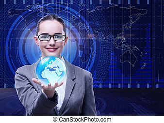Businesswoman in global business concept