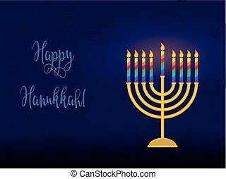 Jewish holiday of Hanukkah, hanukkah menorah and...