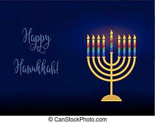 Jewish holiday of Hanukkah, hanukkah menorah and...