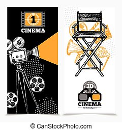 Cinema Vertical Banners - Cinema vertical banners with...