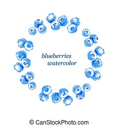 vector blueberries round frame watercolor, berry on white