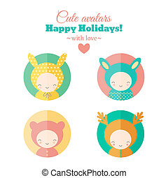set of holiday carnival avatars - Set of cute holiday...