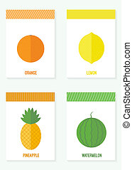 set of cards with fruits and berries - illustration. Set of...