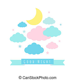 Childish background with moon clouds and stars - Moon,...