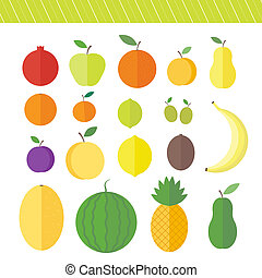 Flat elements for web design fruits and berries - Fruits and...
