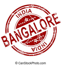Red Bangalore stamp with white background, 3D rendering