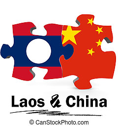 China and Laos flags in puzzle