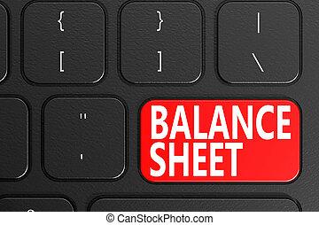 Balance Sheet on black keyboard, 3D rendering
